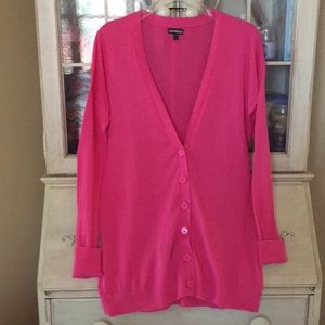 Super cute Express fuchsia long cardigan Sz large